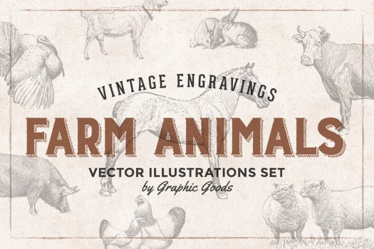 46 Farm Animals - Vintage Engravings