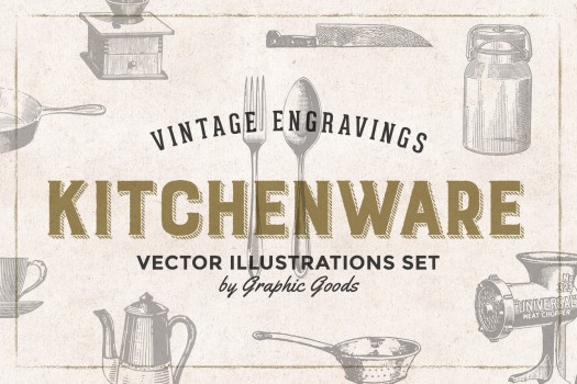 84 Kitchen Tools - Vintage Engravings Set